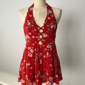 RED ROMPER Plunge Cross Cross Front & Floral print